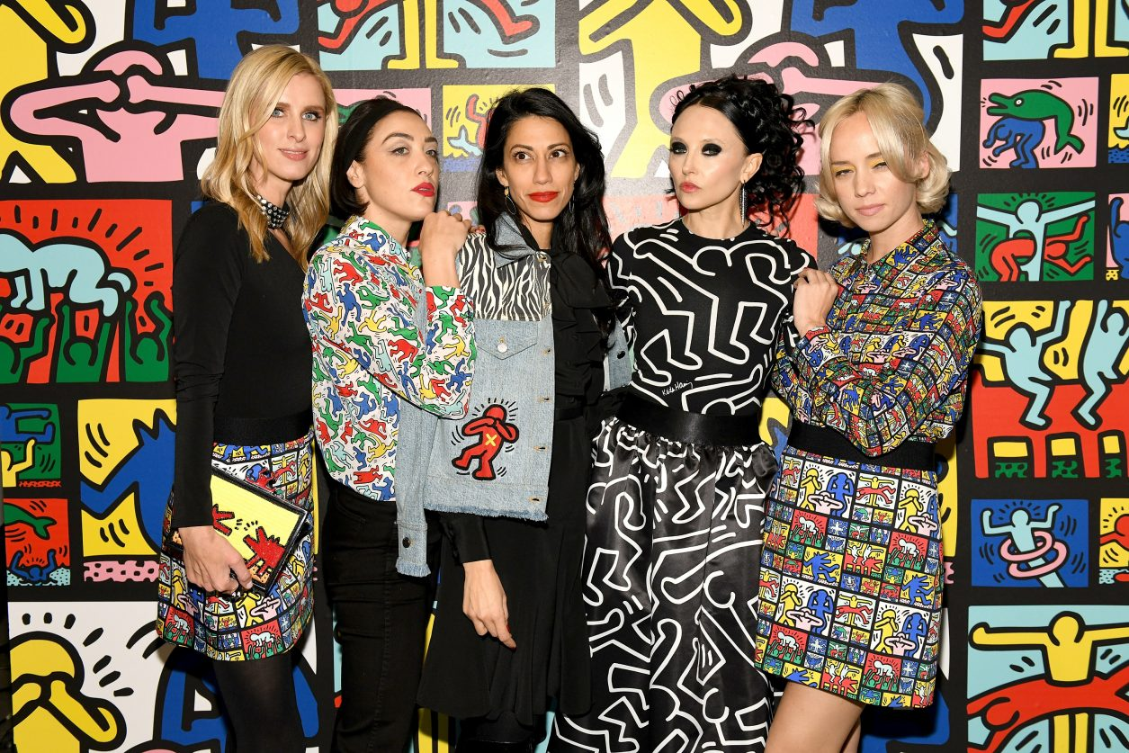 NEW YORK, NY - NOVEMBER 13:  Nicky Hilton Rothschild, Mia Moretti, Huma Abedin, Stacey Bendet and Margot attend the Launch Of Keith Haring x alice + olivia at Highline Stages on November 13, 2018 in New York City.  (Photo by Craig Barritt/Getty Images for alice + olivia by Stacey Bendet)