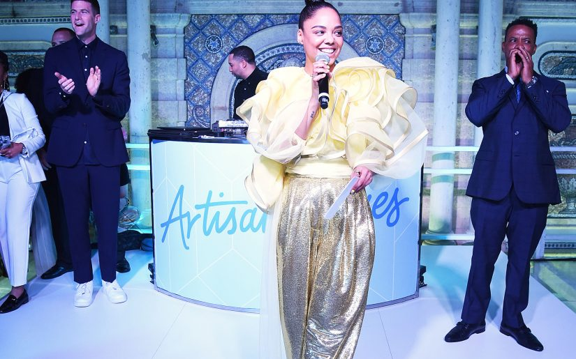 MIAMI BEACH, FLORIDA - DECEMBER 06: Tessa Thompson speaks onstage at the 9th Annual Bombay Sapphire Artisan Series Finale Hosted By Tessa Thompson at Villa Casa Casuarina on December 06, 2018 in Miami Beach, Florida. (Photo by Jamie McCarthy/Getty Images for Bombay Sapphire)