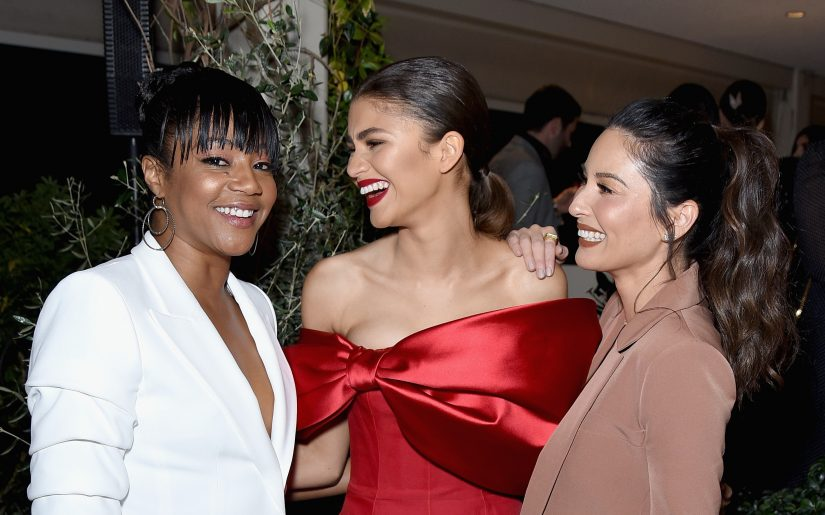 LOS ANGELES, CA - FEBRUARY 21:  (L-R) Tiffany Haddish, Zendaya, Olivia Munn, Vanity Fair x Lancôme Paris With Belvedere Vodka Raise A Glass To Toast Women In Hollywood on February 21, 2019 in Los Angeles, California.  (Photo by Presley Ann/Getty Images for Belvedere Vodka)
