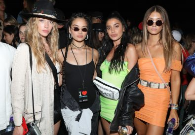 THERMAL, CALIFORNIA - APRIL 13: Shanina Shaik (2nd from (L), Nicole Williams (2nd from R) and guests attend the Levi's Brand Presents Neon Carnival with Bondi Sands and POKÉMON: Detective Pikachu on April 13, 2019 in Thermal, California. (Photo by Jerritt Clark/Getty Images for Neon Carnival)