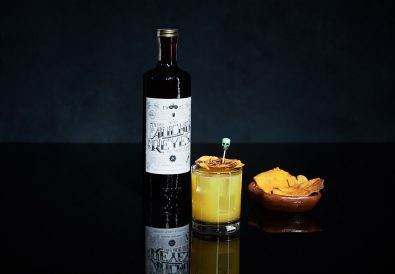 Ancho Reyes Cenizas Quedan with bottle