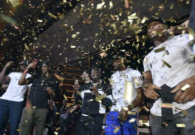 LAS VEGAS, NEVADA - JUNE 14: The Toronto Raptors celebrate their NBA championship at XS Nightclub at Wynn Las Vegas on June 14, 2019 in Las Vegas, Nevada.  (Photo by David Becker/Getty Images for Wynn Las Vegas)