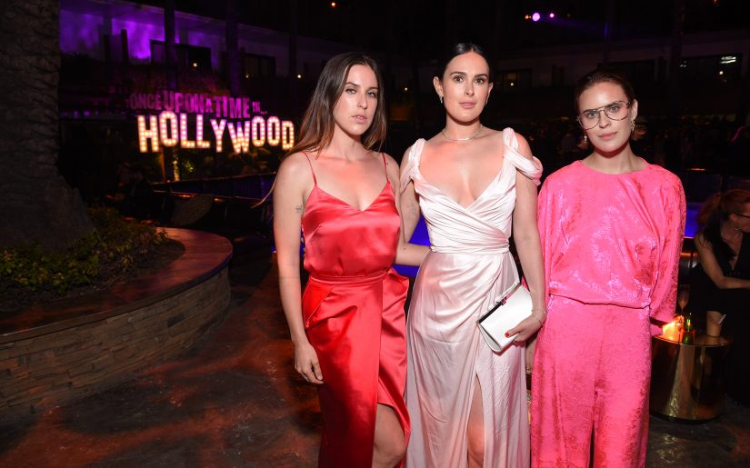 """Hollywood, CA - July 22, 2019: Scout Willis, Rumer Willis and Tallulah Willis at the Premiere After Party of Sony Pictures' """"Once Upon A Time In Hollywood"""" at The Hollywood Roosevelt.  (Photo by Stewart Cook/for Sony Pictures/Shutterstock)"""