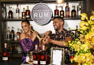 NEW YORK, NEW YORK - AUGUST 16: Dascha Polanco and Darnell Holguin create a specialty cocktail as BACARDI celebrates National Rum Day on August 16, 2019 in New York City. (Photo by Noam Galai/Getty Images for BACARDI)