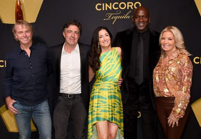 NEW YORK, NEW YORK - SEPTEMBER 18: Cincoro Founding Partners (L-R) Wes Edens, Wyc Grousbeck, Emilia Fazzalari, Michael Jordan and Jeanie Buss attend the Cincoro Tequila launch at CATCH Steak on September 18, 2019 in New York City. (Photo by Jamie McCarthy/Getty Images for Cincoro)