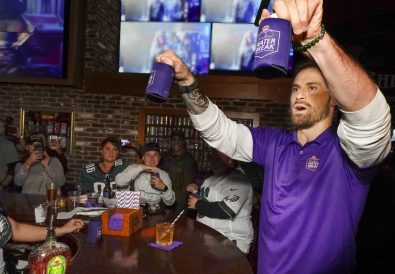 Chris Long hangs out with football fans during a Crown Royal party at a local Philadelphia bar, Sunday, Oct. 20, 2019. (Photo by Jack Dempsey for Crown Royal)