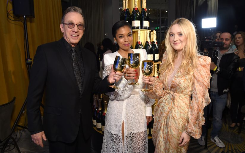 BEVERLY HILLS, CALIFORNIA - DECEMBER 09: (L-R) Tim Allen, Susan Kelechi Watson, and Dakota Fanning pose as Moët & Chandon Toasts The 77th Annual Golden Globe Awards Nominations on December 09, 2019 in Beverly Hills, California. (Photo by Michael Kovac/Getty Images for Moët & Chandon)