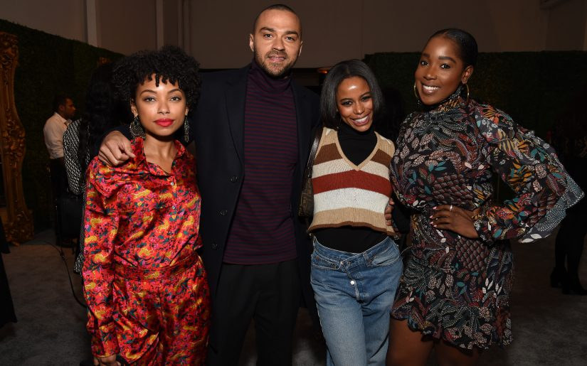 WEST HOLLYWOOD, CALIFORNIA - FEBRUARY 06: (L-R) Logan Browning, Jesse Williams, Taylour Paige and Ashley Blaine Featherson attend Grey Goose Toasts To A Year Of Victorious Filmmaking at The MACRO Pre-Oscars Party at Fig & Olive on February 06, 2020 in West Hollywood, California. (Photo by Michael Kovac/Getty Images for Grey Goose)